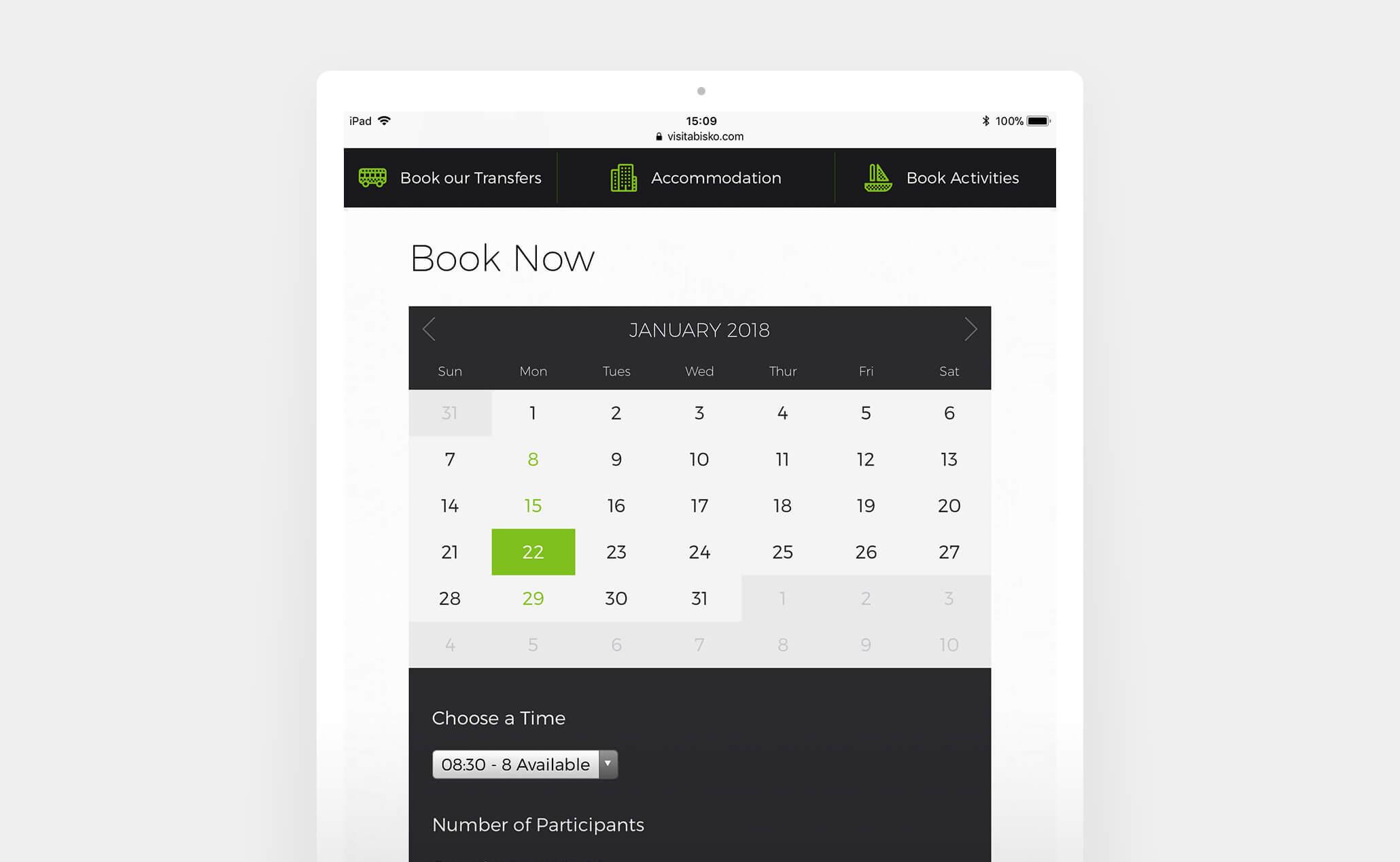 Visit Abisko website (iPad)