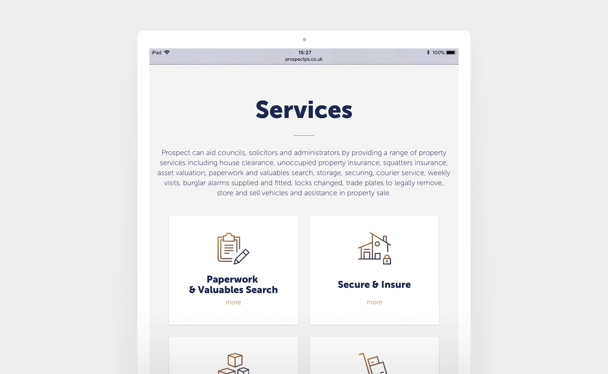 ProspectPS - website (iPad)