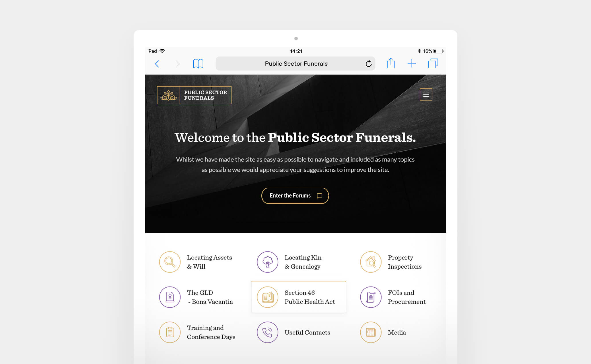 Public Sector Funerals website