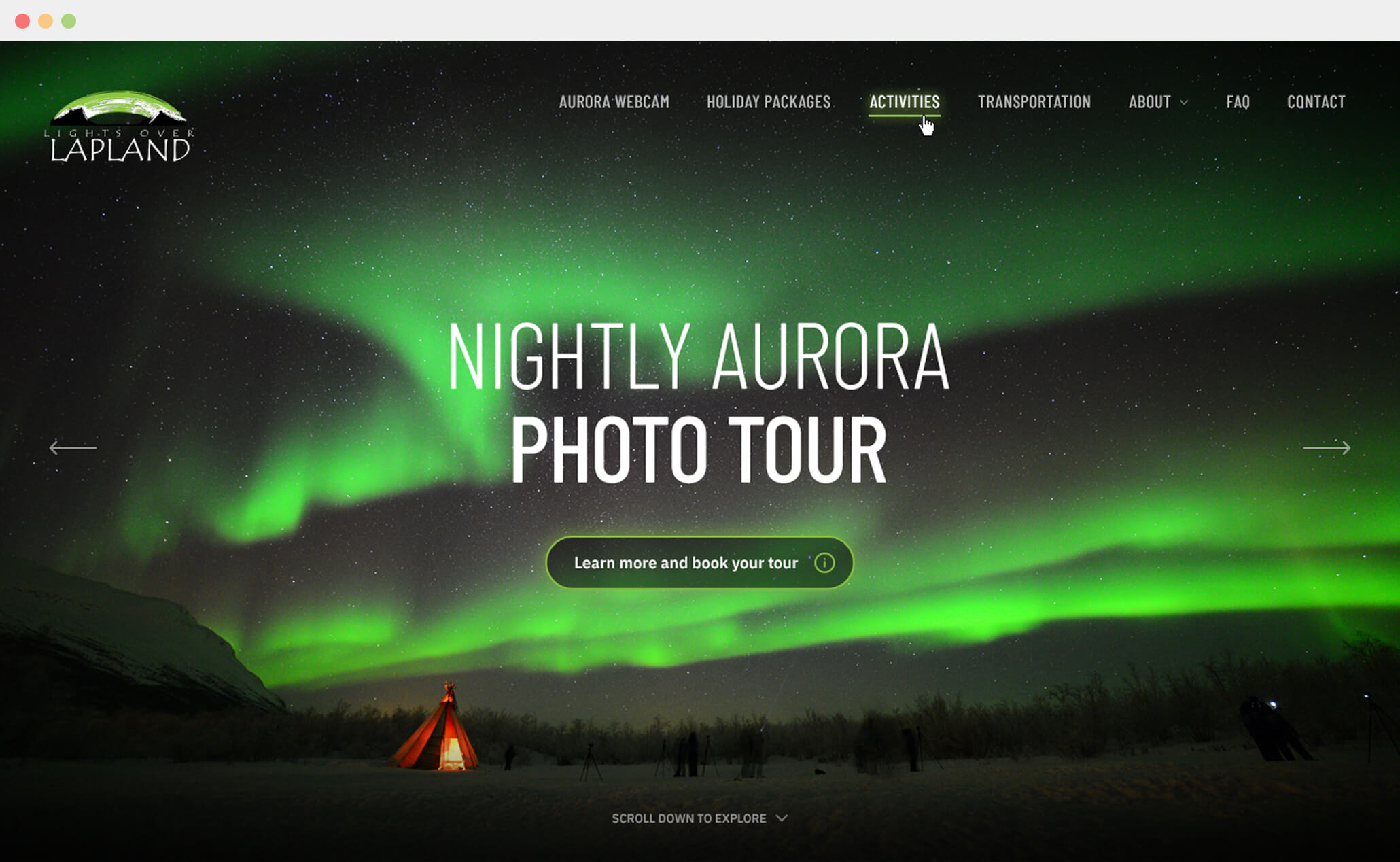 Lights over Lapland - website project