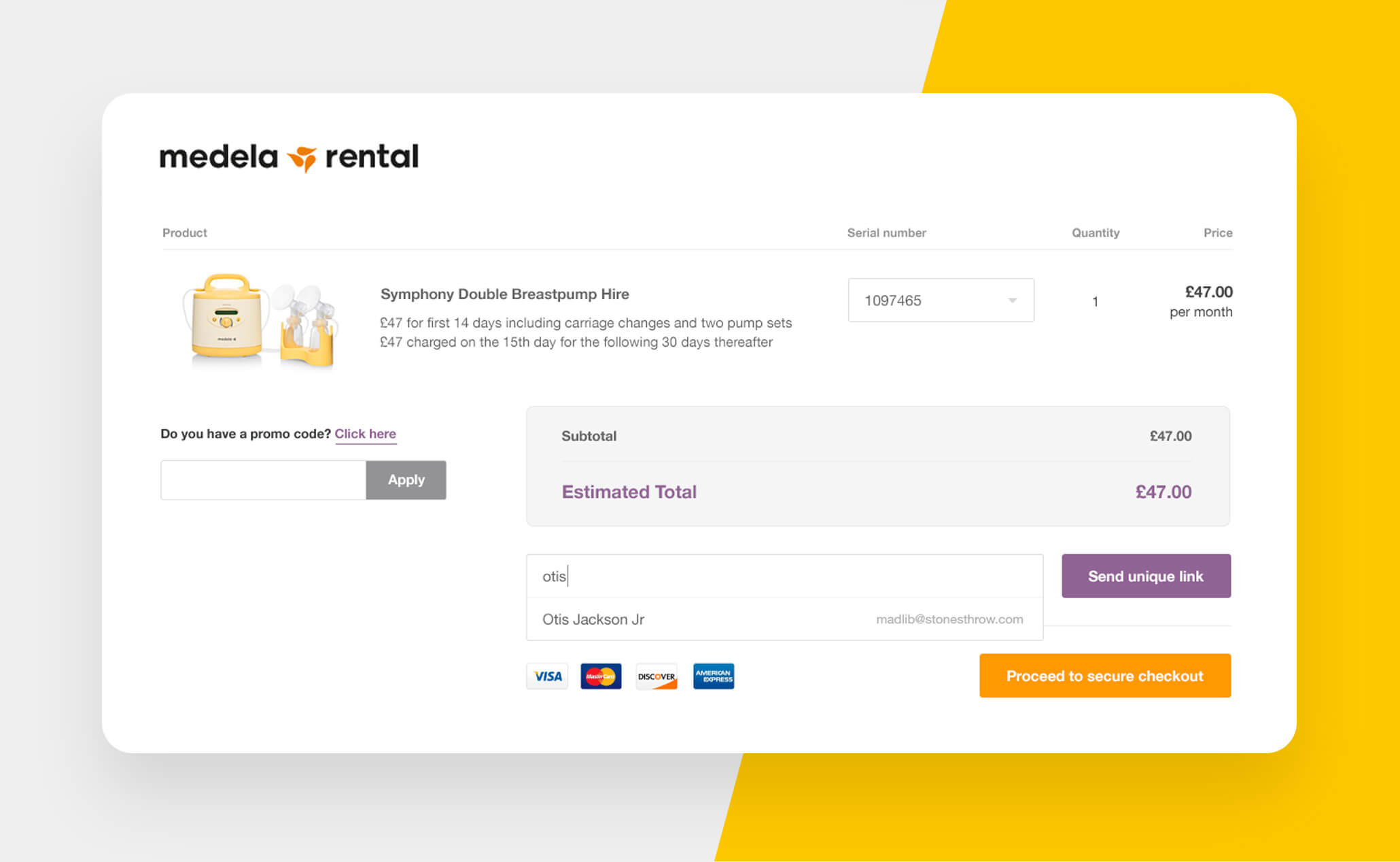 Medela Rental website project