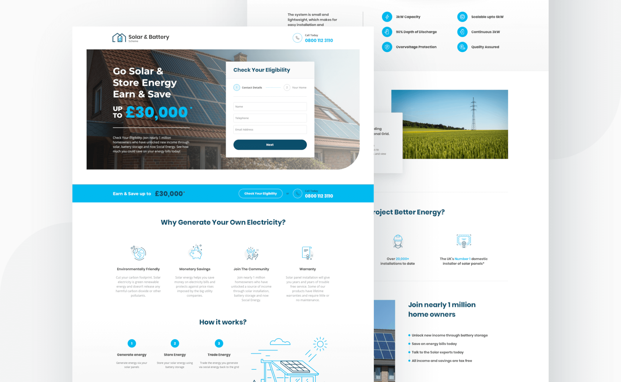 Solar and Battery Scheme website design project