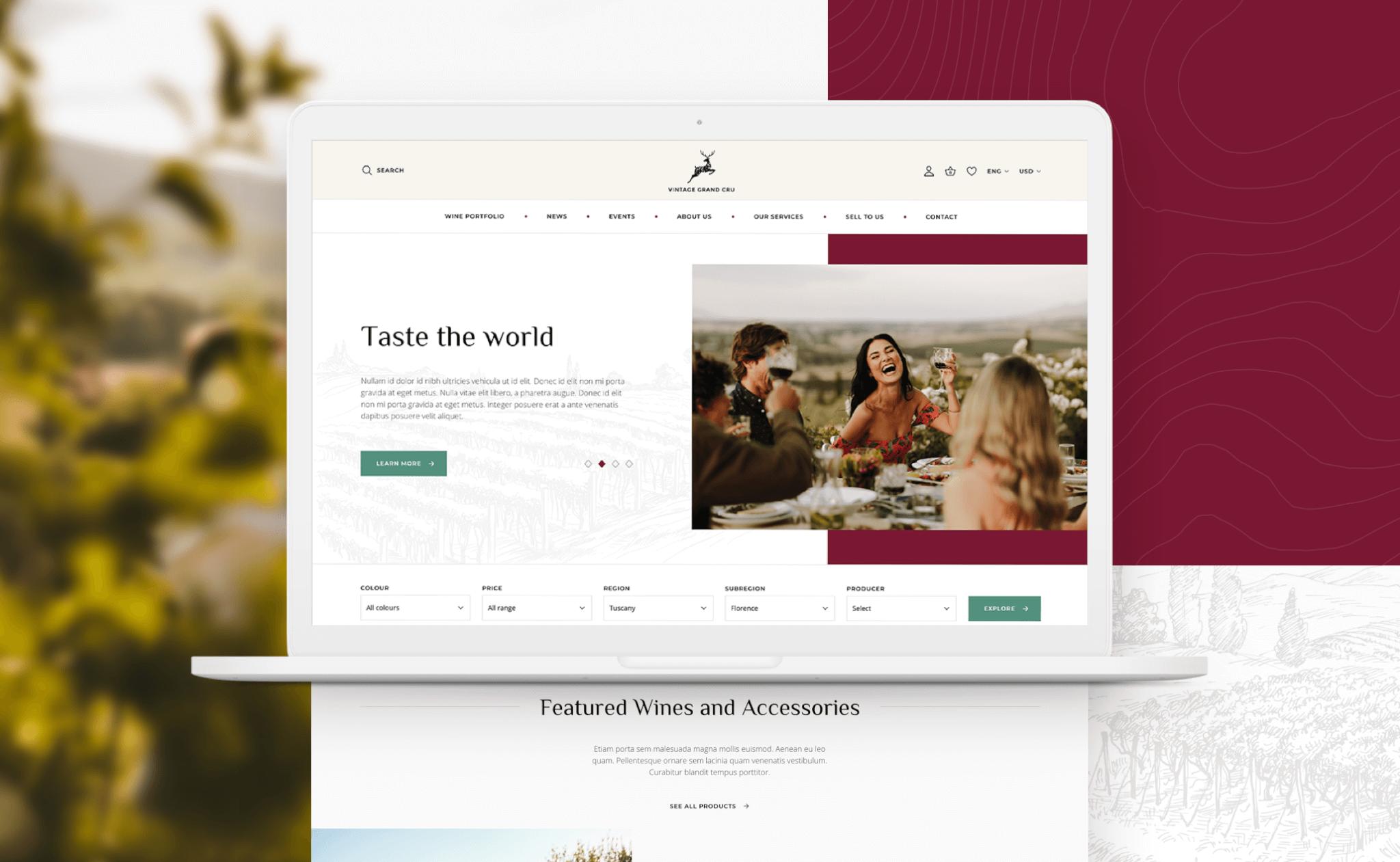 Vintage Grand Cru website design project