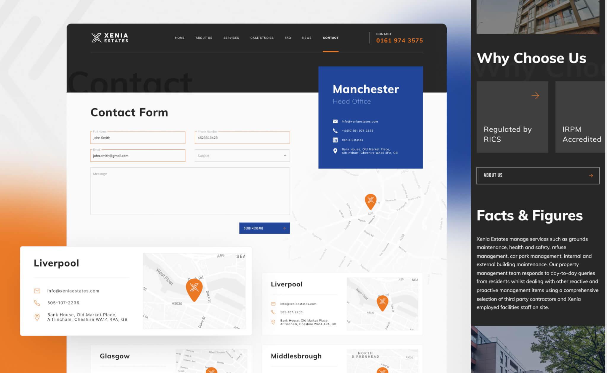 Xenia Estates website design project